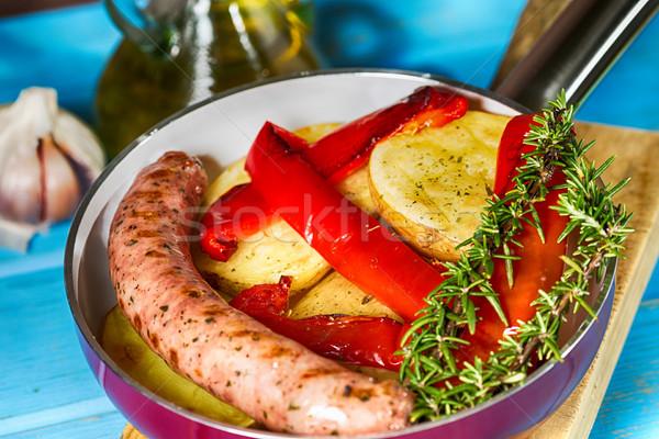 Foto stock: Pimienta · salchicha · casero · patatas · cocido · pollo
