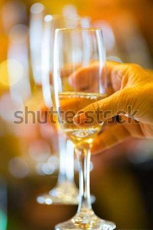 Pezsgő pirítós ünneplés buli boldog felirat Stock fotó © fotoedu