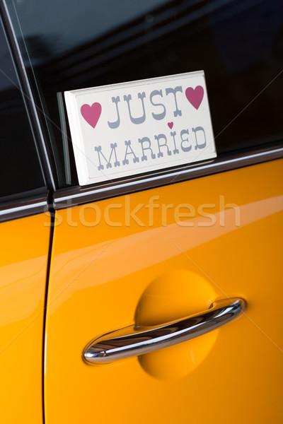 Oranje auto reizen huwelijksreis Stockfoto © fotoedu