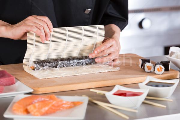 повар суши ресторан продовольствие кухне Сток-фото © fotoedu