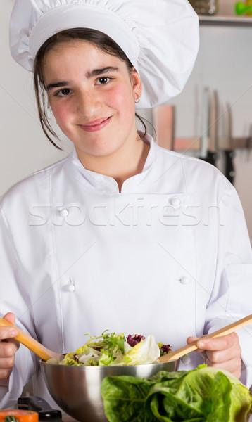 Genç kız mutfak kız gıda çocuklar yüz Stok fotoğraf © fotoedu