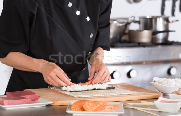 şef sushi lezzetli restoran eller gıda Stok fotoğraf © fotoedu