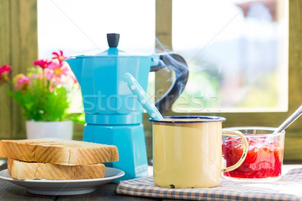 Reggeli kávé pirítós házi készítésű lekvár ablak Stock fotó © fotoedu