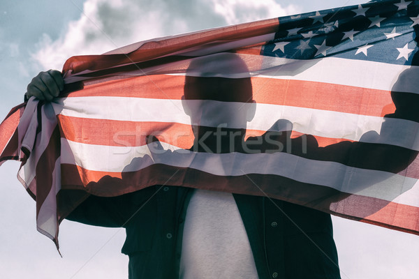 Man with American flag Stock photo © fotoedu