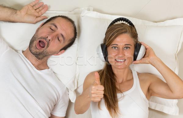 Stock fotó: Boldog · nő · konzerv · alszik · most · fejhallgató
