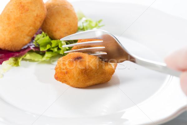 Finom házi készítésű tányér saláta étel kenyér Stock fotó © fotoedu