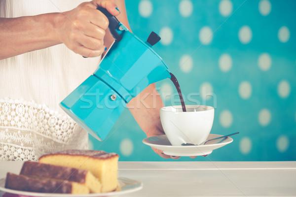 Nő adag kávé klasszikus stílus ruházat Stock fotó © fotoedu