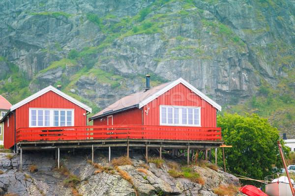 Norvégia sziget kicsi halászat falu felhők Stock fotó © fotoedu