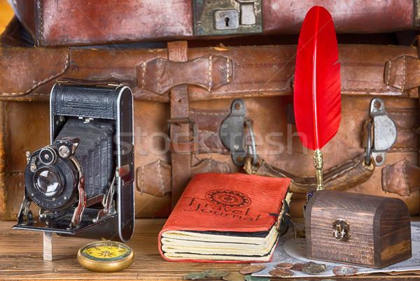 Vintage viaje material libro mapa Foto stock © fotoedu