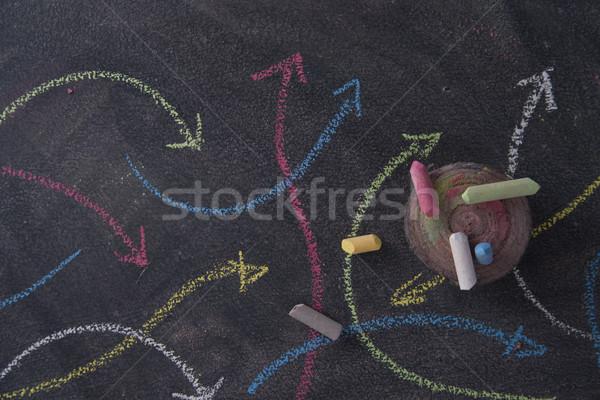Stok fotoğraf: Renkli · oklar · tebeşir · tahta · soyut