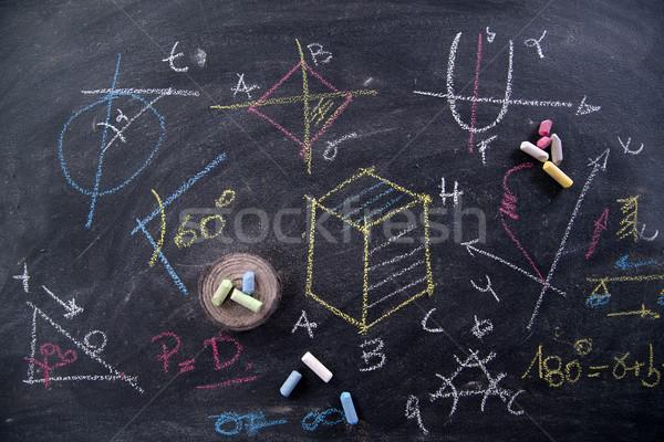 黒板 数学の チョーク 建設 背景 ストックフォト © Fotografiche
