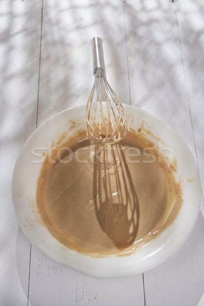 Zweep room kastanje voorbereiding meel vruchten Stockfoto © Fotografiche