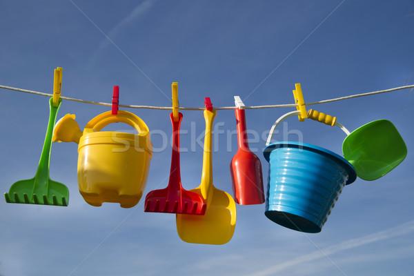 Stok fotoğraf: Oyunları · çocuklar · yaz · zaman · plaj · oyuncaklar