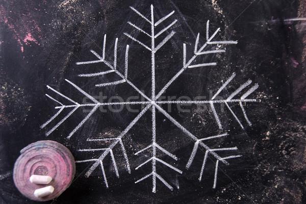Symbool icon sneeuw grafische krijt Blackboard Stockfoto © Fotografiche