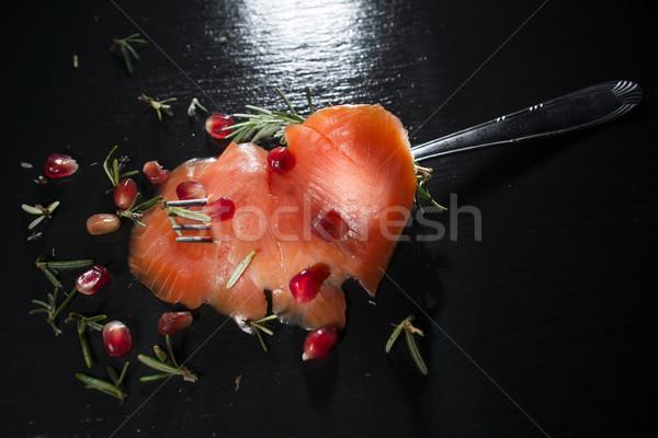 鮭 皿 プレゼンテーション スライス 黒 海 ストックフォト © Fotografiche