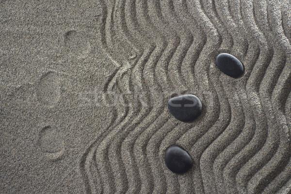 Faible jardin zen dessins lumière gris Photo stock © Fotografiche
