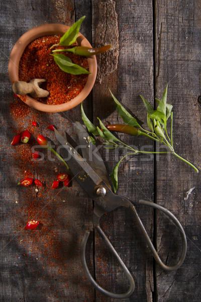 Stok fotoğraf: çili · toz · tanıtım · makas · zemin · pişirme