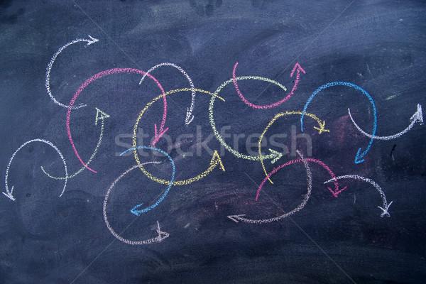 Flechas colorido tiza pizarra Foto stock © Fotografiche