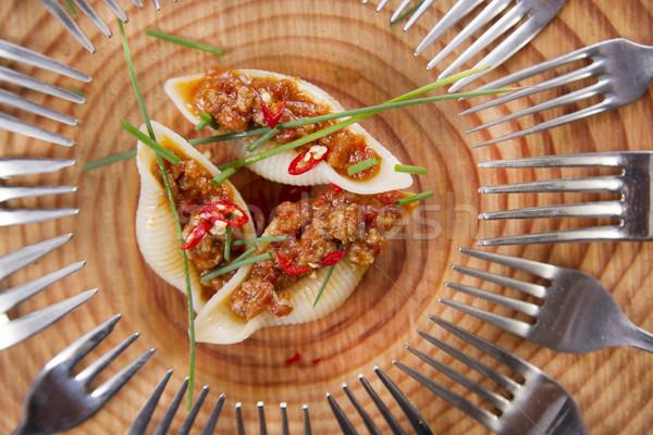 Makarna kabukları et sos tanıtım ilk Stok fotoğraf © Fotografiche