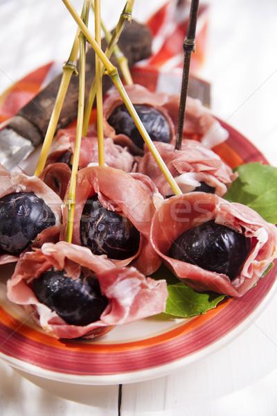 Ham and figs Stock photo © Fotografiche