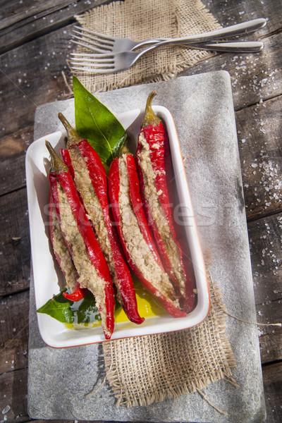 пряный Chili начинка фаршированный соус тунца Сток-фото © Fotografiche
