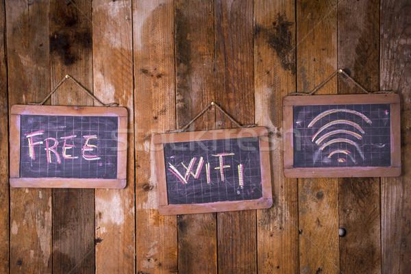 Wolna wifi graficzny kredy tablicy telefonu Zdjęcia stock © Fotografiche