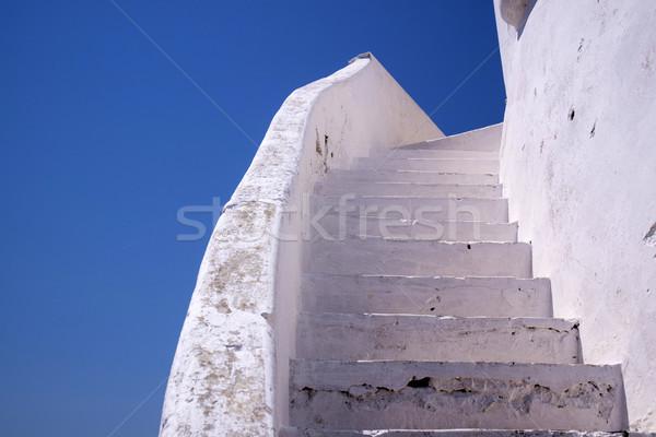 Fehér lépcsőház kőművesmunka különleges építészeti szín Stock fotó © Fotografiche