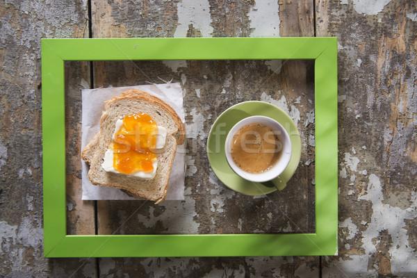 イタリア語 朝食 プレゼンテーション コーヒー パン バター ストックフォト © Fotografiche