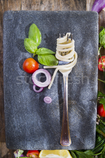 Kézzel készített spagetti bemutató Toszkána Olaszország étterem Stock fotó © Fotografiche