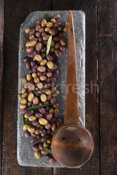 Misto azeitonas toscana Itália gordura colher Foto stock © Fotografiche