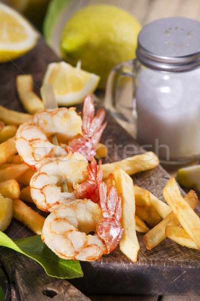 Shrimp skewer with potatoes Stock photo © Fotografiche
