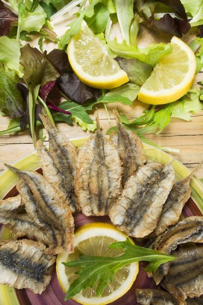 Kék hal bemutató második edény étel Stock fotó © Fotografiche