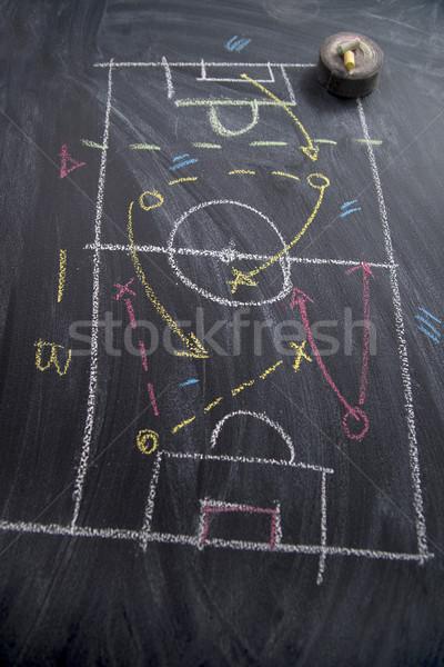 Lição futebol tática padrões giz Foto stock © Fotografiche