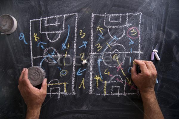 Lecke futball taktika minták rajzolt kréta Stock fotó © Fotografiche