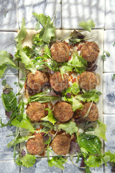Húsgombócok saláta második edény zöld szakács Stock fotó © Fotografiche