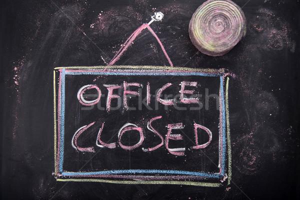 Ofis kapalı grafik kelime yazılı tebeşir Stok fotoğraf © Fotografiche