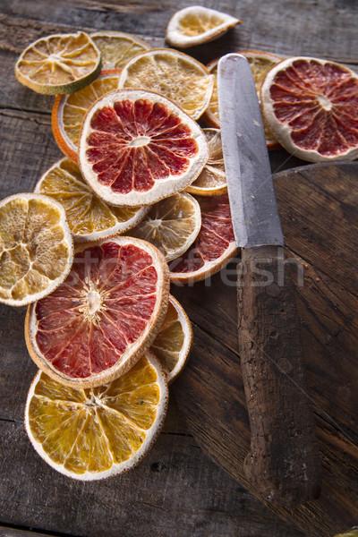 Foto stock: Fatias · secas · cítrico · conjunto · diferente · frutas
