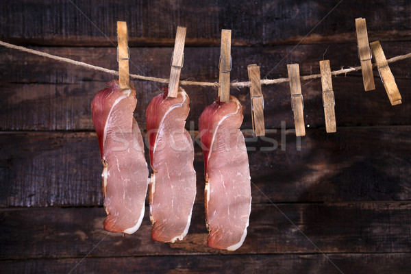 Smoked bacon hanging Stock photo © Fotografiche
