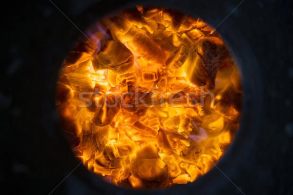 Izzó fa égő tűzhely forró láng Stock fotó © Fotografiche