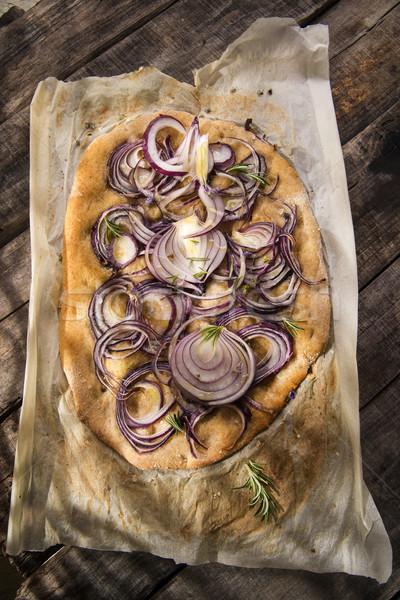 Focaccia with red onion Stock photo © Fotografiche