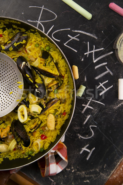 Espagnol plat riz poissons légumes Photo stock © Fotografiche