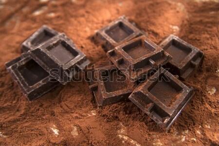 Chocolade poeder pure chocola tabel voedsel energie Stockfoto © Fotografiche