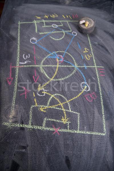 Foto stock: Lección · fútbol · táctica · patrones · tiza