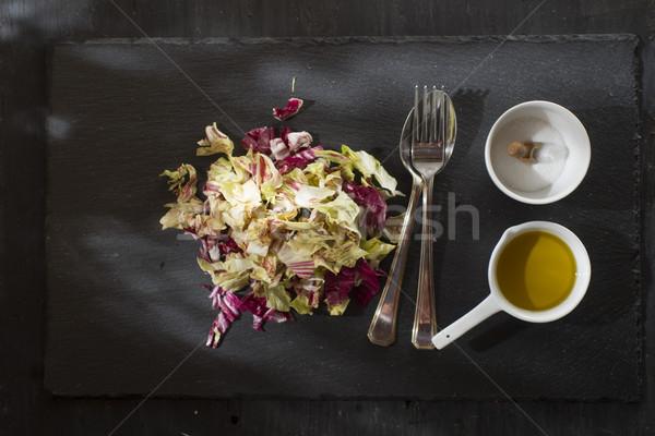 Stok fotoğraf: Karışık · salata · plaka · tanıtım · yemek · taş
