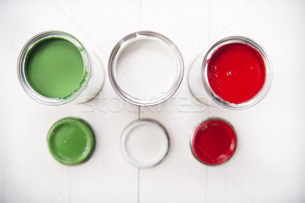Három festék bemutató zászló olasz zászló terv Stock fotó © Fotografiche