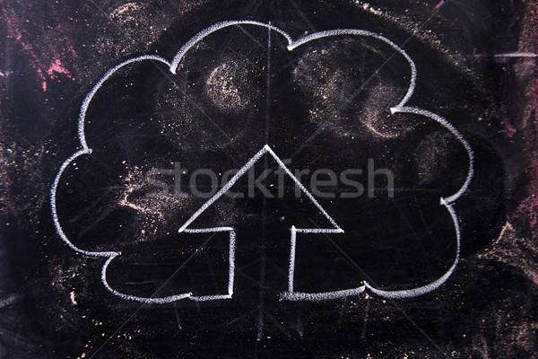 Szimbólum feltöltés grafikus kréta iskolatábla vonal Stock fotó © Fotografiche