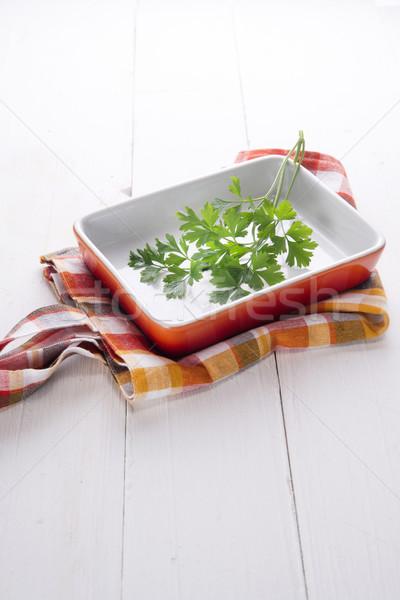 Peterselie klein schotel oranje blad Stockfoto © Fotografiche