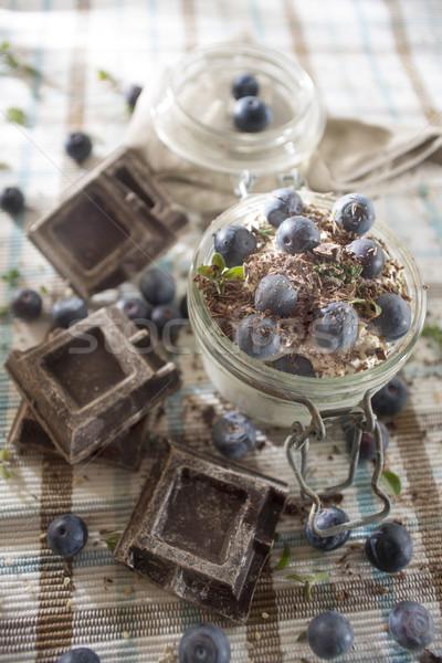 Stok fotoğraf: çikolata · yoğurt · yaban · mersini · besleyici · sağlıklı · kahvaltı