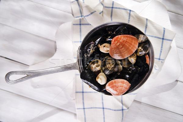 Ingredientes necessário sopa frutos do mar branco Foto stock © Fotografiche