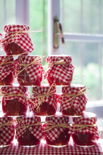 Klein tomatensaus presentatie behoud eigengemaakt voedsel Stockfoto © Fotografiche